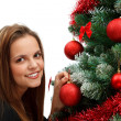 Decorate Christmas tree — Stock Photo #4421375
