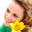 Beautiful girl with flower — Stock Photo