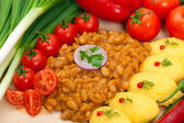 Baked beans with hominy — Stock Photo