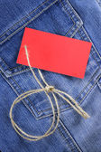 Blank label for text on jeans — Stock Photo