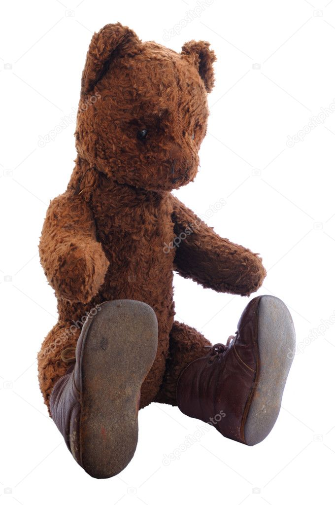 Sitting Teddy Bear on White Background — Stock Photo #4744943