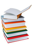 Colored books on white background — Stock Photo