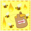 Bees and honey — Stockvektor