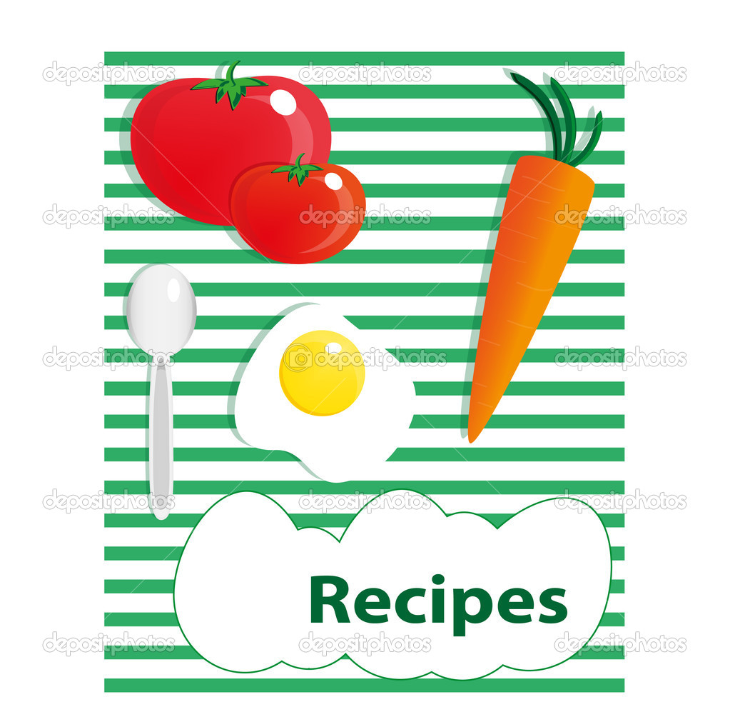 Cover for a cookbook with food ingredients — Stock Vector #5057285