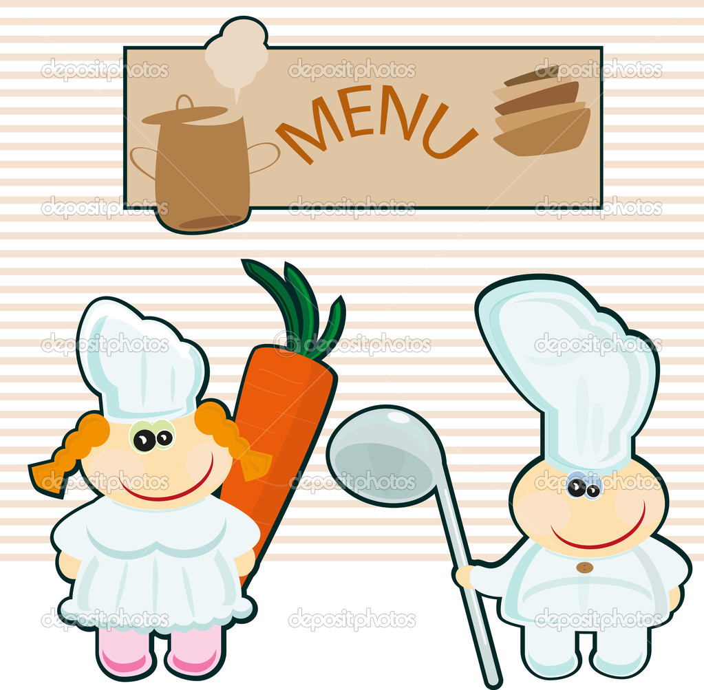 Chef on the background of the menu  Stock Vector #5124673
