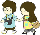 Cute boy and girl walking together cartoon vector illustration — Vector de stock