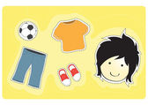 Young boy with variety of clothes for dress-up cartoon vector illustration — Stock Vector