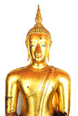 Golden Buddha Statue isolated on white background — Stock Photo