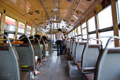 Inside a bus in Bangkok Thailand — Stock Photo