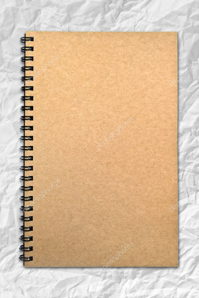 Notebook Cover Background : Grunge brown cover notebook on wrinkled paper background