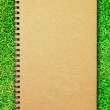Brown cover notebook on green grass field — Stock Photo