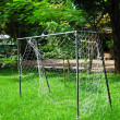 Soccer goal on fresh green grass field — Stock Photo