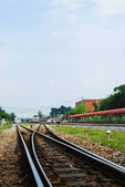 Railway and blue sky — Stock Photo
