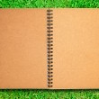 Brown recycle paper notebook open on green grass field — Stock Photo