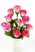 Bunch of pink rose in white vase — Stock Photo
