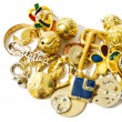 Golden silver accessories and jewelry closeup isolated - Stock Photo