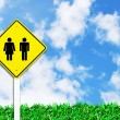 Man and women sign on beautiful sky — Stock Photo