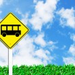 Stock Photo: Bus stop sign on beautiful sky
