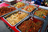 Variety of thai food in market — Stock Photo