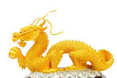 Golden dragon statue isolated — Stock Photo