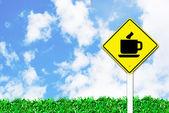 Coffee shop sign on beautiful sky — Stock Photo