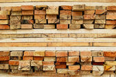 Stack of lumber in logs storage — Stock Photo
