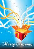 Merry Christmas surprise gift box — Stock Photo