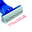 Fragile blue rubber stamp - Stock Photo
