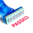 Passed blue rubber stamp - Stock Photo