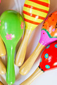 Colorful wooden toy maracas — Stock Photo