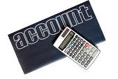 Calculadora y libro de cuentas aislado — Foto de Stock