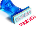 Passed blue rubber stamp — Stock Photo