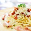 Traditional carbonara spaghetti - Stock Photo