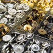 Vintage clothes buttons in market — Stock Photo