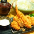 Fried shrimp and pork tempura japanese food - Stock Photo