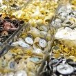 Stock Photo: Vintage clothes buttons in market