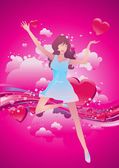 Valentine girl — Stock Vector