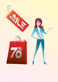 покупки женщины — Cтоковый вектор