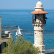 Jaffa Al-Bahr Mosque and yacht 2011 - Stock Photo