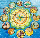Kolor mozaiki ceramiczne płytki podłogowe oznak zodia — Zdjęcie stockowe