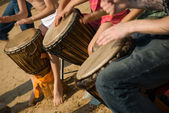 Playing drums — Stockfoto