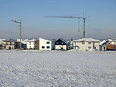 Construction field in winter — Stock Photo
