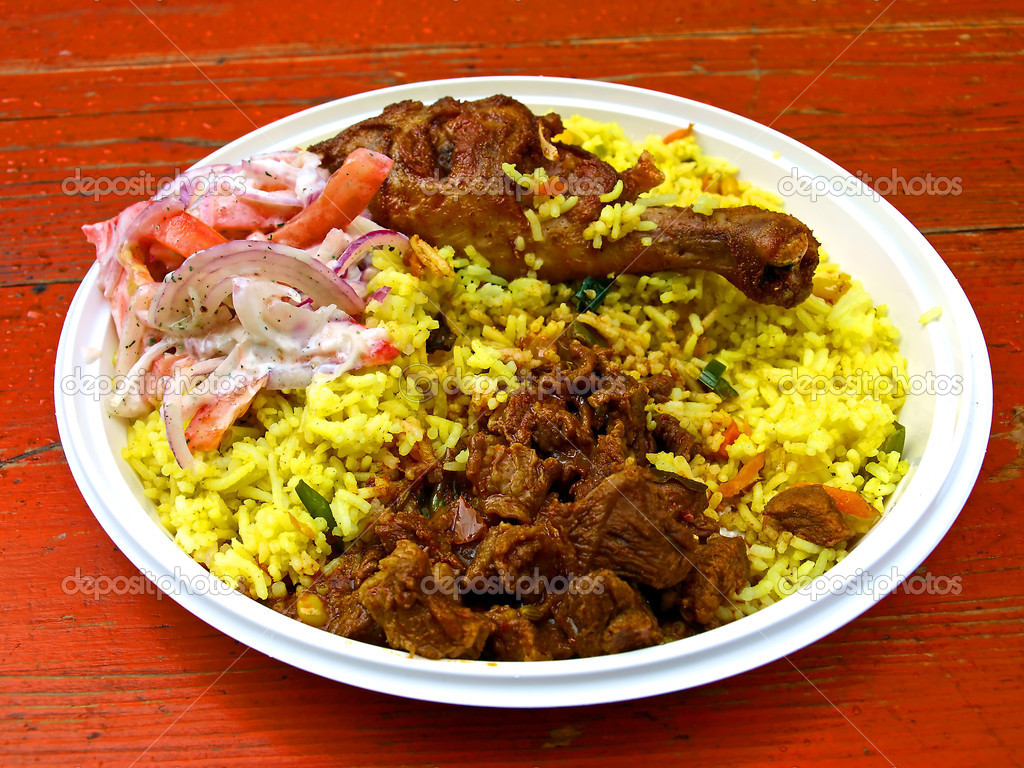 Indian food,meat, chicken with rice and salad — Stock Photo #4030044