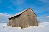 Winter scene with barn — Stock Photo