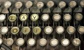Vieja máquina de escribir, despedir a texto — Foto de Stock