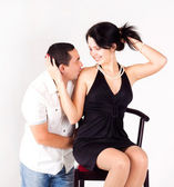 A man kissing a pretty girl. love, happiness — Stock Photo