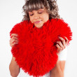Young beautiful girl keeps the heart, love, Valentine's Day hol — Stock Photo #4778155