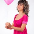 Young beautiful girl holding a balloon heart, love, Valentine's — Stock Photo