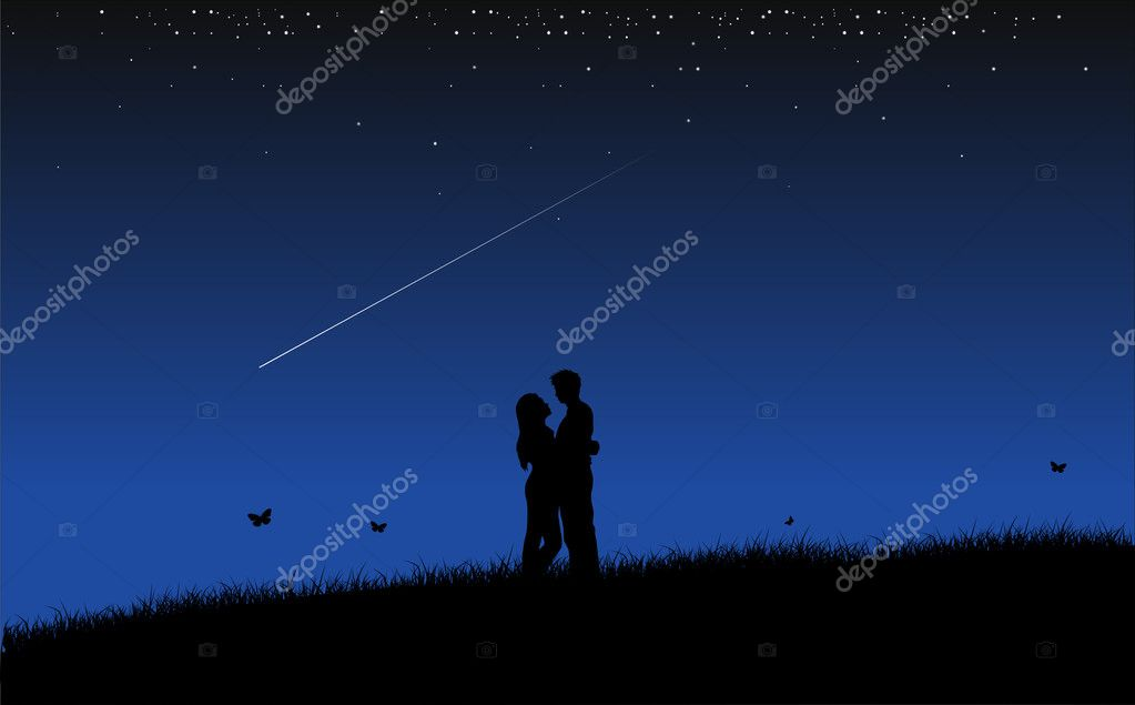 Couple in night  — Stock Vector #4041501