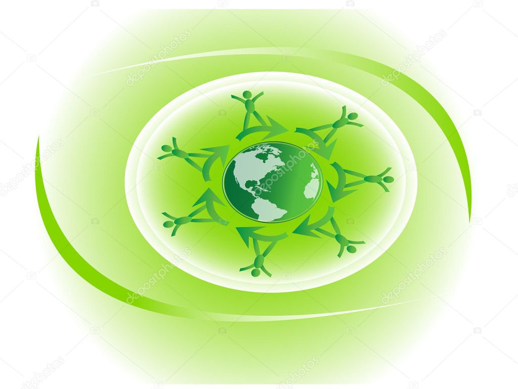 Green earth with happy children — Stock Vector #3978897